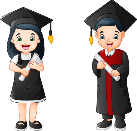 Cartoon boy and girl in Graduation Costume