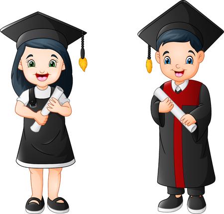 Cartoon boy and girl in Graduation Costume