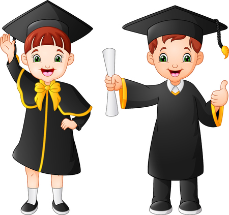 Cartoon happy kid in Graduation Costume Ilustracja