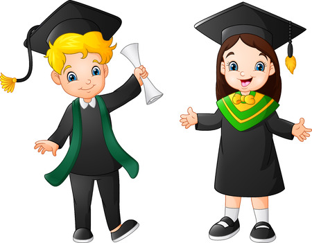 Cartoon happy kid in Graduation Costume Иллюстрация