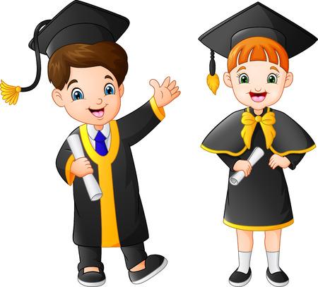 Cartoon happy kid in Graduation Costume Illustration
