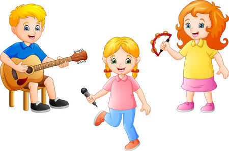 Cartoon kid playing music together