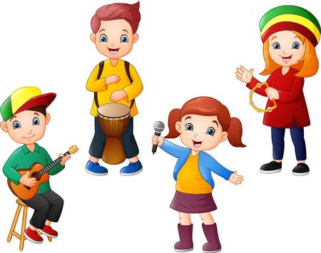 Cartoon kids playing music together Ilustracja