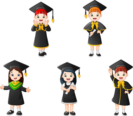 Cartoon kid in Graduation Costumes with different poses Ilustracja