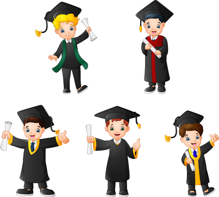 Cartoon kid in Graduation Costumes with different poses Çizim