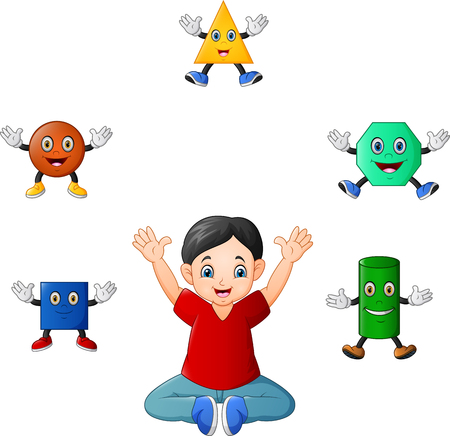 Cartoon Boy with germs and bacteria icons