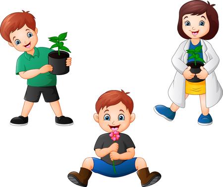 Cartoon Kids holding a plants
