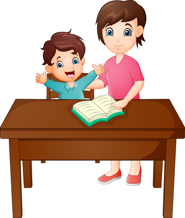 Cartoon Mother with her son reading book Ilustracja