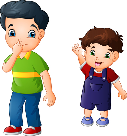 Cartoon older brother with his younger brother