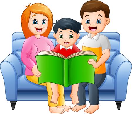 Cartoon happy family reading a book Ilustracja