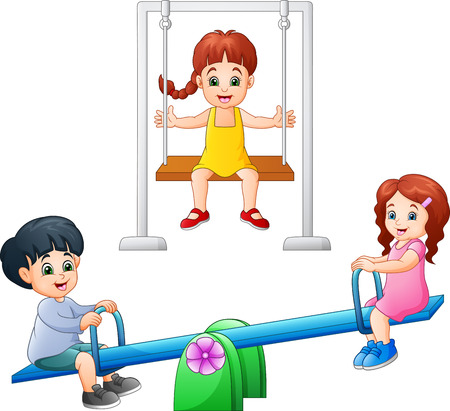 Cartoon kids playing seesaw and swing Stock Illustratie