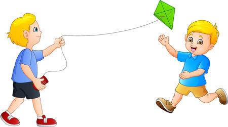 Cartoon Kids playing kites