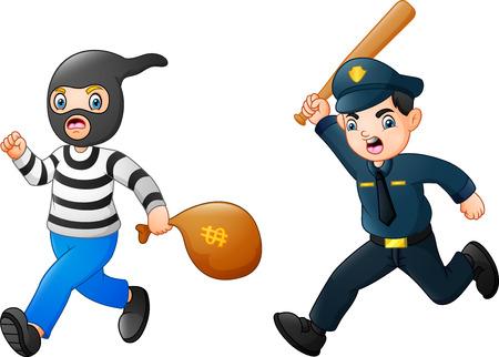 도둑을 쫓는 만화 경찰관 벡터 (일러스트)