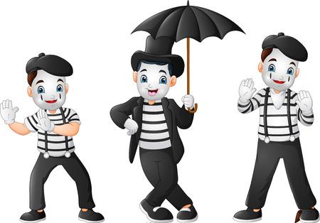 Conjunto de mimos realizando diferentes pantomimas Ilustración de vector