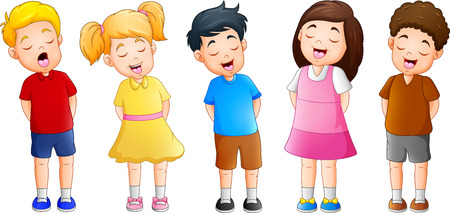 Cartoon group of children singing together