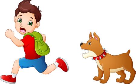 Cartoon-Schüler, der vor wütendem Hund wegläuft Vektorgrafik
