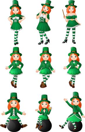 Cartoon women leprechaun collection set