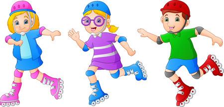Cartoon kid playing Roller Skates