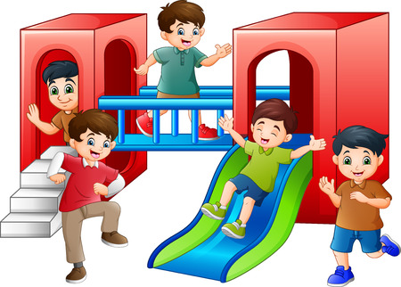 Cartoon Children Having fun in the Playground Zdjęcie Seryjne