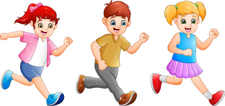Cartoon happy kids running together