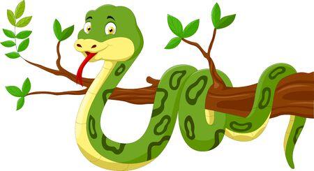Serpiente de dibujos animados en el árbol Ilustración de vector