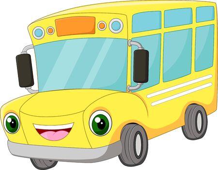 Funny cartoon happy bus school