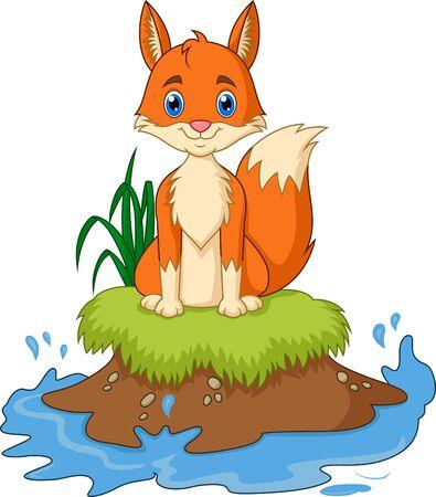 Cartoon Fox sit on the grass