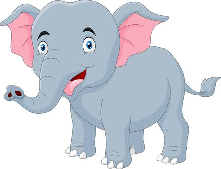 Sourire d'éléphant heureux de dessin animé mignon