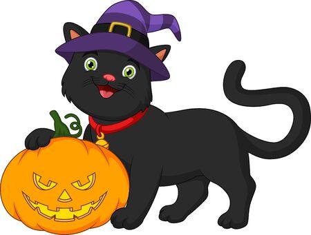 Cartoon black cat and pumpkin Çizim