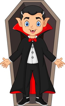 Cartoon dracula in the coffin
