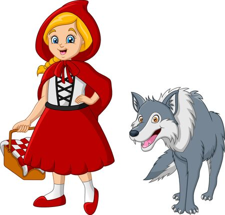 Little red riding hood with wolf Vector Illustratie