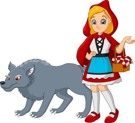 Caperucita roja con lobo Ilustración de vector