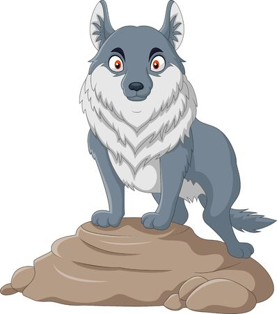 Cartoon wolf stands on a rock