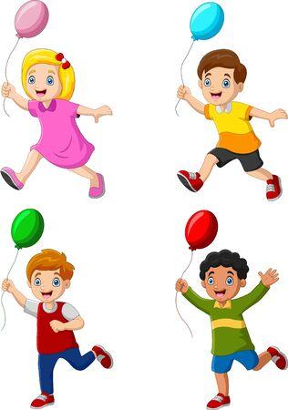 Happy kids holding balloon and running Illustration