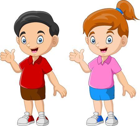 Coppia divertente cartone animato bambino felice Vettoriali