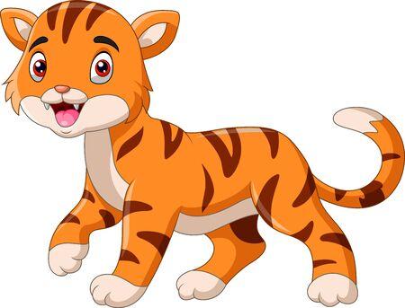 Pequeño tigre de dibujos animados lindo caminando solo