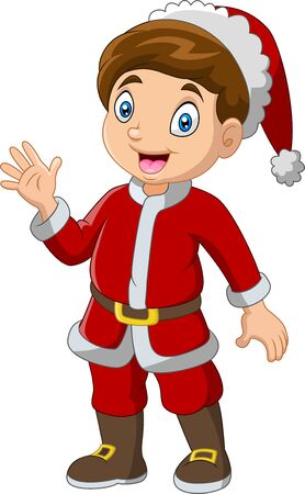 Cartoon-Junge mit Weihnachtsmann-Kostümen