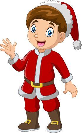 Kreskówka chłopiec ubrany w kostiumy świętego mikołaja