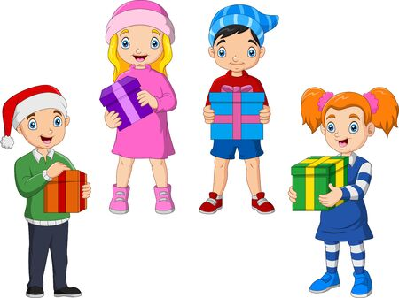 Cartoon children stand holding gifts