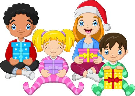 Children sitting while hugging gifts