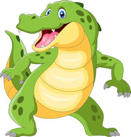 Crocodile heureux debout et agitant la main