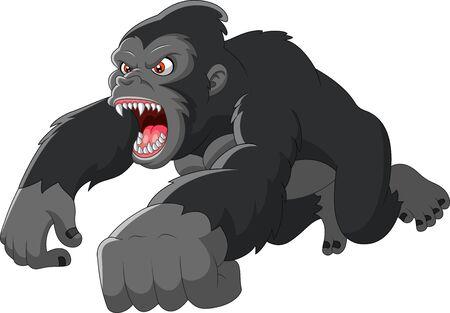 Cartoon big Gorilla was angry