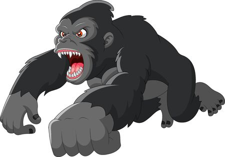 Gran gorila de dibujos animados estaba enojado