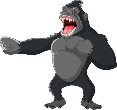 Gorila enojado golpeando el pecho