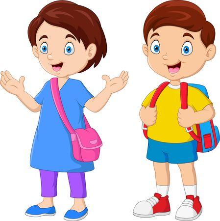 Niños de la escuela de dibujos animados con mochilas Ilustración de vector