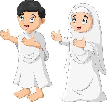 Cartoon Muslim kids a pray