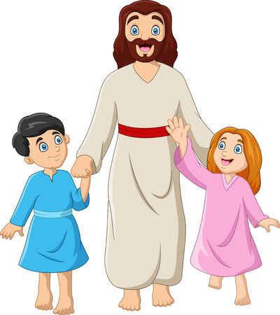 Cartoon Jesus Christus with children