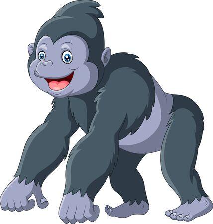 Gorilla divertente del fumetto un sorriso Vettoriali