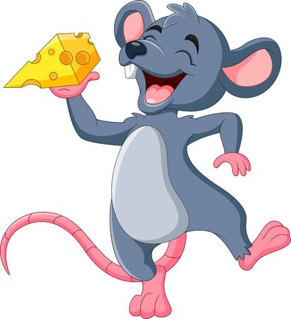 Cartoon mouse holding slice of cheese Vektoros illusztráció