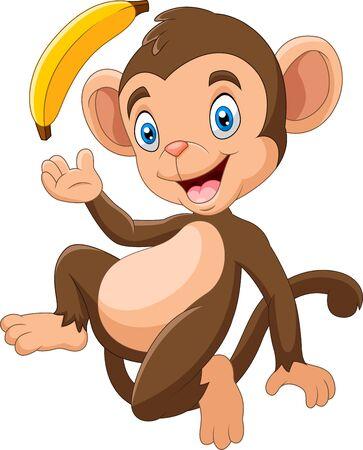 Cartoon funny monkey holding banana Vetores